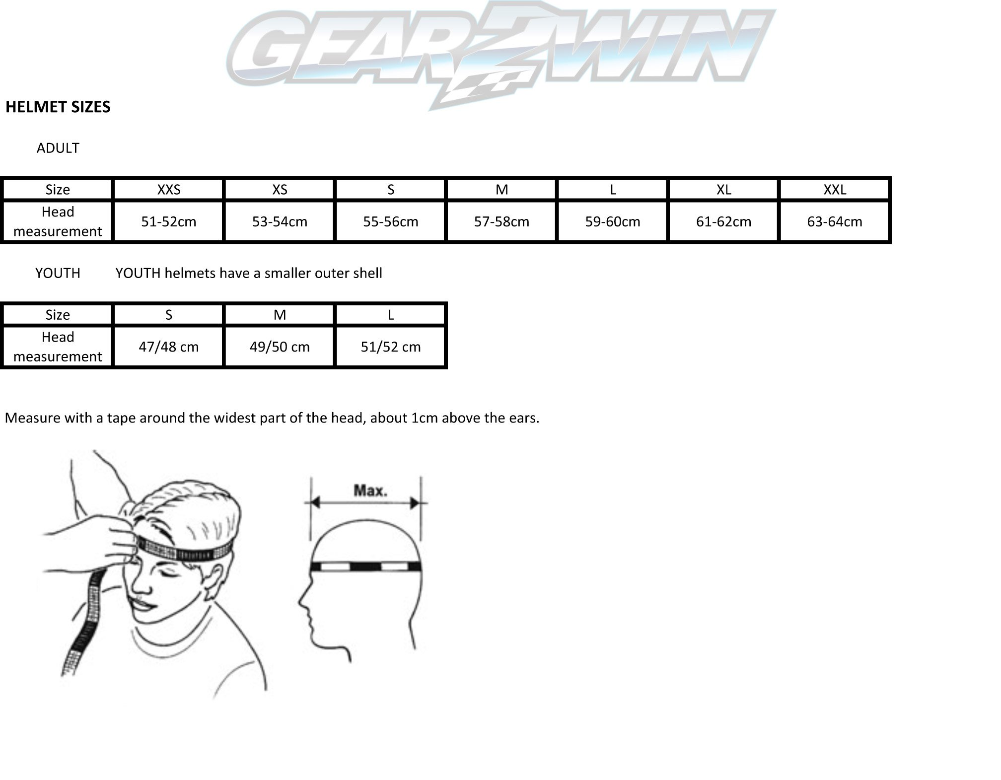 Gear2win Helmet sizing chart