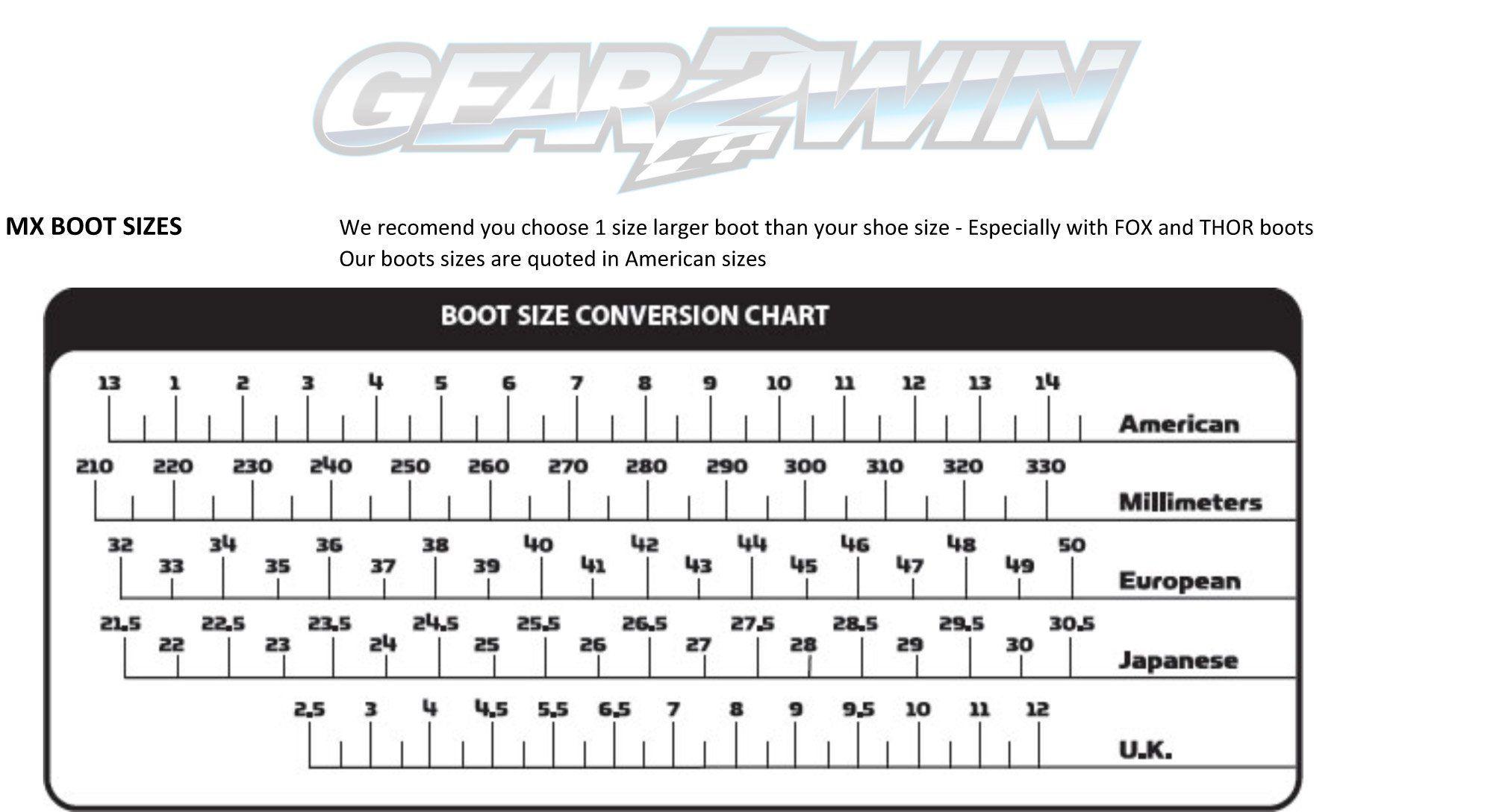 Gear2win MX Boot sizing chart