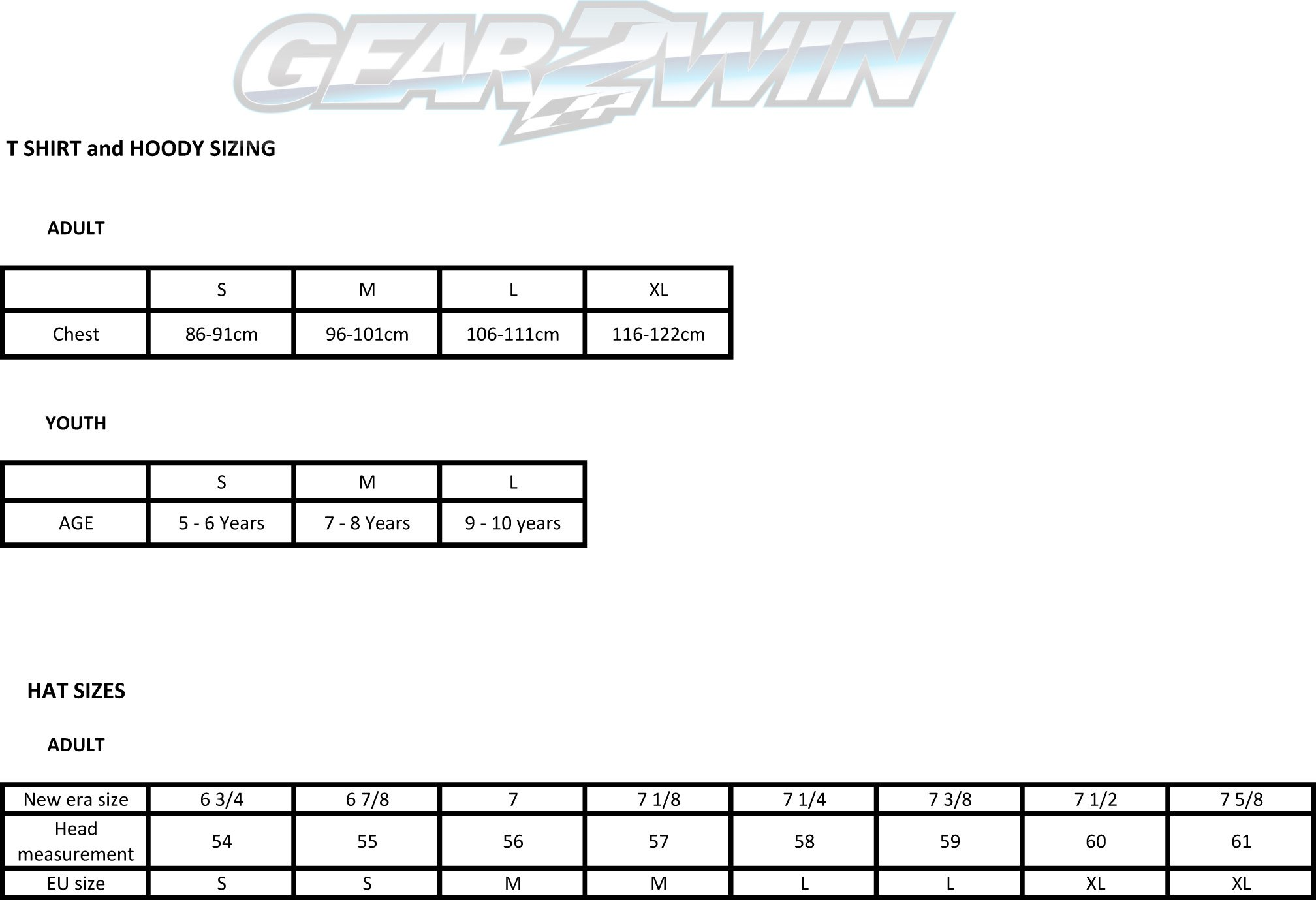 Gear2win Casual wear sizing chart